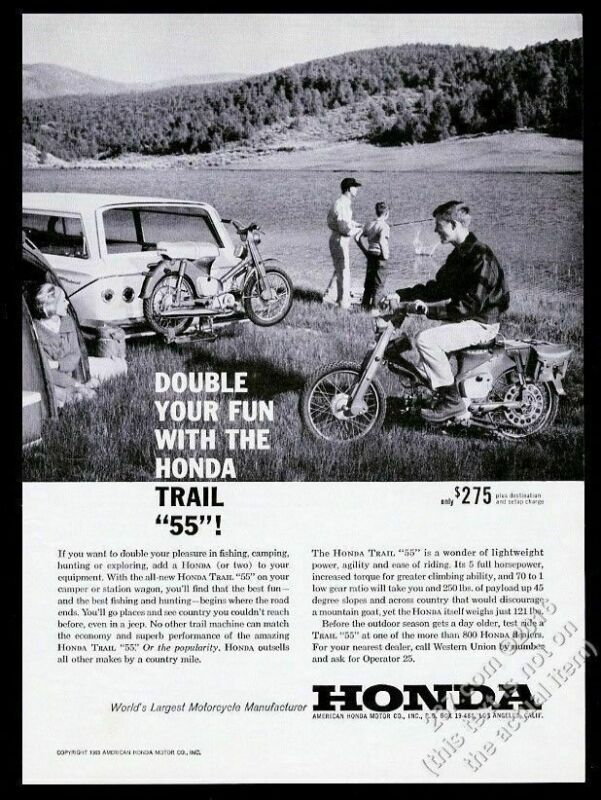 1963 Honda Trail 55 motorcycle camping family photo vintage print ad