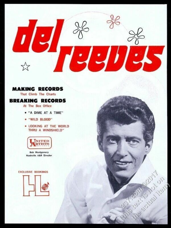 1968 Del Reeves photo United Artists Records music trade print ad