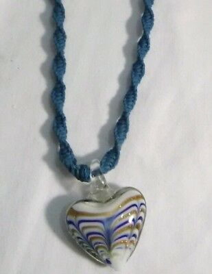 - Handmade Blue Hemp Necklace With Spiral Pattern & Glass Heart Pendant 18