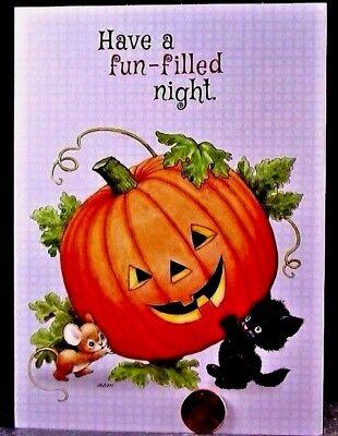 Morehead Black Kitten Cat Mouse Mice Tilting Pumpkin -- Halloween Card -- NEW - Black Kitten Halloween