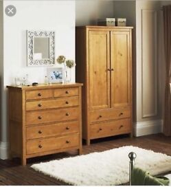 Schreiber solid wood wardrobe and chest of draws