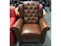 Real leather brown recliner armchair