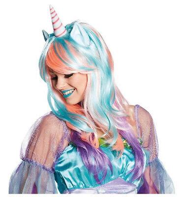 Purple Wig Halloween Costume (Halloween Comic-con Cosplay Pink Turquoise Purple Costume Unicorn Hair Wig)