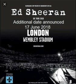 2 standing ed sheeran tickets 17th June