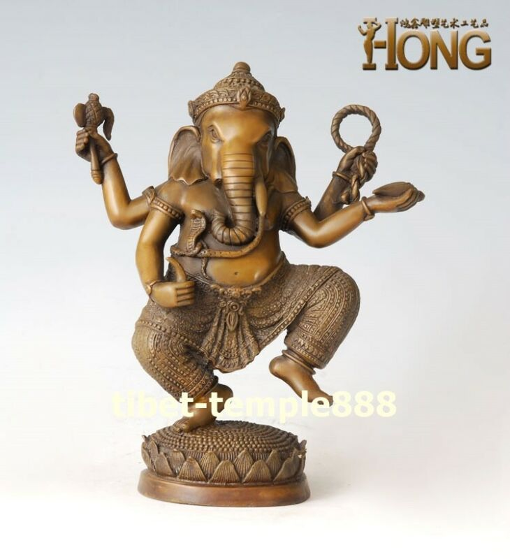 China Pure Bronze Four Arms Ganesha Ganesh elephant God wealth Buddha Sculpture