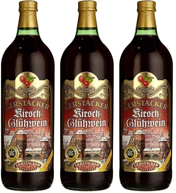 3 Flaschen Gerstacker Kirsch Glühwein a 1 Liter 9% vol.
