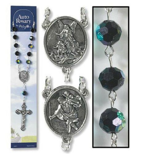 Catholic Rosary AUTO Rear View Mirrors Saint Christopher & Guardian Angel BLACK