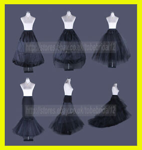 BLACK-BRIDAL-WEDDING-DRESS-PROM-PETTICOAT-UNDERSKIRT-CRINOLINE-HOOP-S-XL