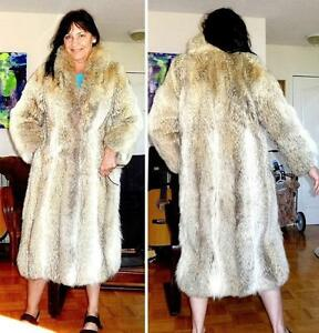FULL LENGTH $5000 COYOTE FUR COAT MIDI LGTH M 10 VINTAGE / VERY WARM AND THICK
