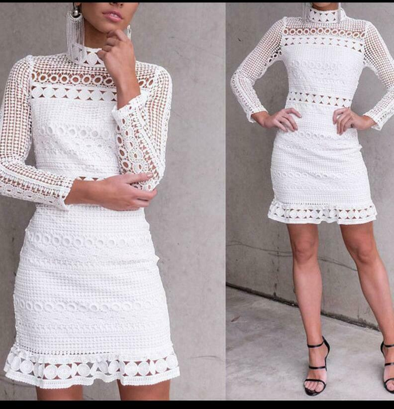01c7bf51b64f89 Details about Spring 2018 Hot White Sexy Women Ruffle Hollow Out Crochet  Lace Party Maxi Dress