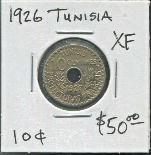 TUNISIA - FANTASTIC HISTORICAL MUHAMMAD AL-HABIB 10 CENTIMES, AH 1345 (1926)