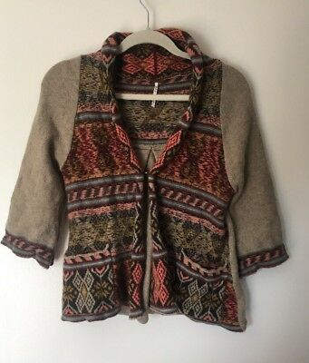 Free People Wool Blend Brown Printed 3/4 Sleeve Cardigan Sweater - (Printed Wool Blend)