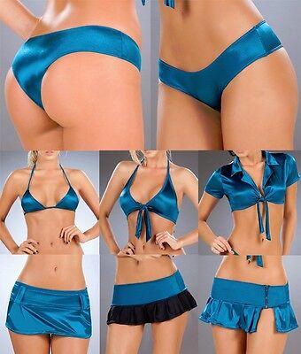 (3007 Metallic Blue Booty Boy Shorts Yoga Gym Roller Bikini Dancer RAVE S M L)