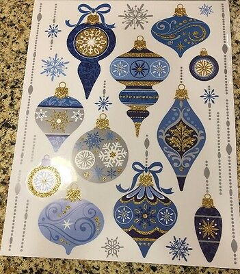 Christmas Silver Gold Blue Window Clings Ornaments Snowflake Glass clings Fridge