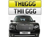 THUG cherished private personalised number plate reg. HUG ~ T. HUGG ~THUGGG - TH11GGG