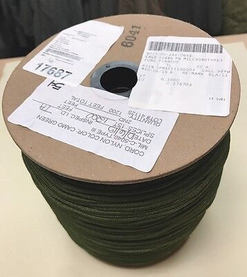USGI Army Roll of 1200 Feet Fibrous Parachute Cord (Paracord) / MIL-C-5040 New