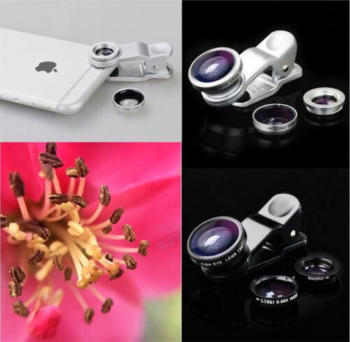Smartphone Universal Macro Lens Camera+Fish eye+Wide Angle 3in1 Kit Black IF