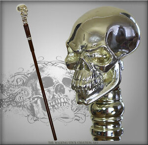 LUXURY-SKULL-TOP-ART-999-SILVER-COATING-HANDLE-WALKING-STICK-CANE-HIKING-STAFF