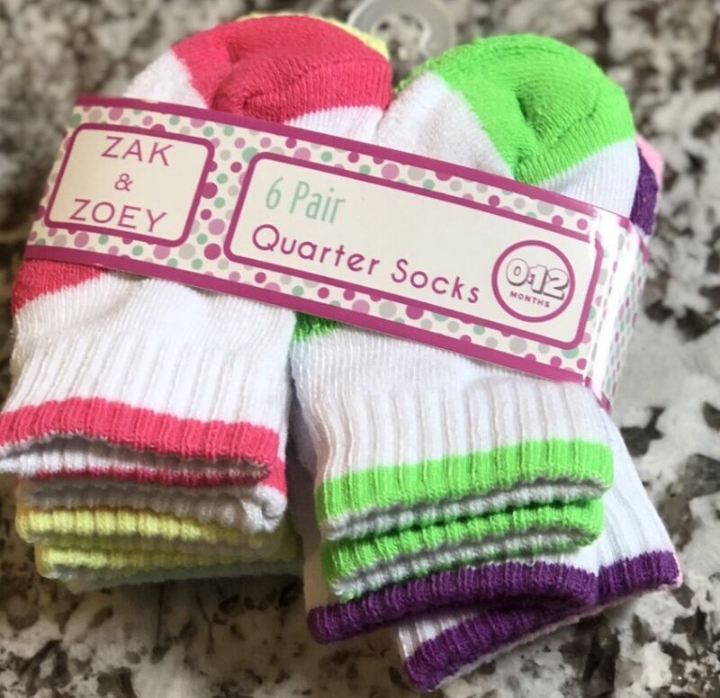 NWT 6 PAIR PACK OF BABY GIRL INFANT GIRL SOCKS SIZE 0-12 MONTHS