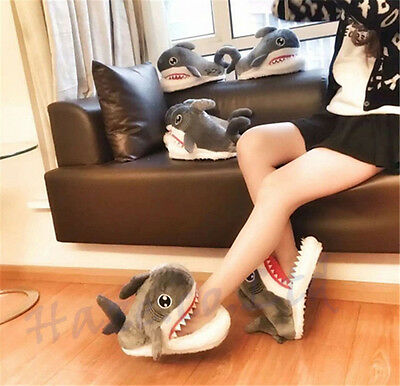 Adult Shark Indoor Slippers Full Surround Fuzzy  Carpet Shoes - Shark Slippers Adult