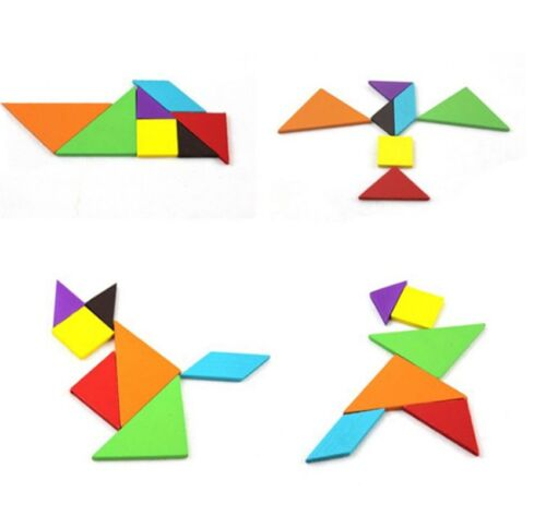 7Pcs/set Wooden Jigsaw Puzzle Tangram Kids Educational