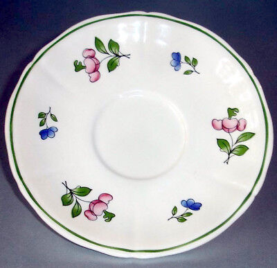 Gien Lorraine Filet Vert Tea Saucer Floral Green Banded French Faience New