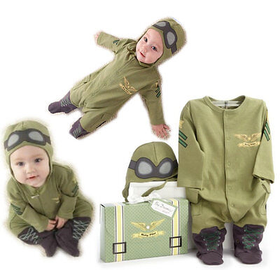 0-3 Month Halloween Baby Costume Pilot Cute Jumpsuit Climb Party Boy Clothes New - Climbing Halloween Costumes