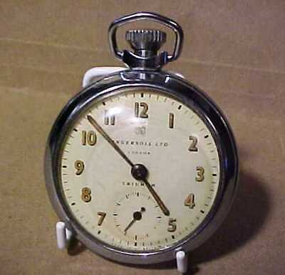 A FULLY WORKING = INGERSOLL LONDON TRIUMPH POCKET WATCH = TOP WINDER CHROME CASE