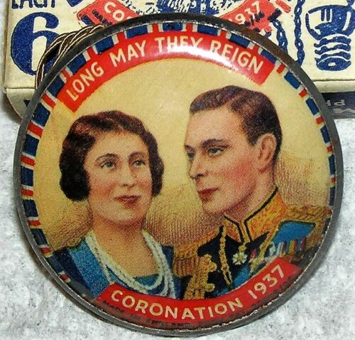 RARE KING GEORGE VI QUEEN ELIZABETH 1937 CORONATION ILLUMINATED PIN BADGE MINT