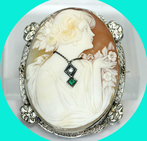 "Antique estate diamond emerald cameo pin brooch pendant 14K w/gold .06CT 1 7/8"""