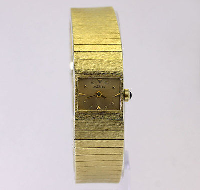 Vintage Angelus bracelet watch solid 14K yellow gold ladies 34 grams mechanical!