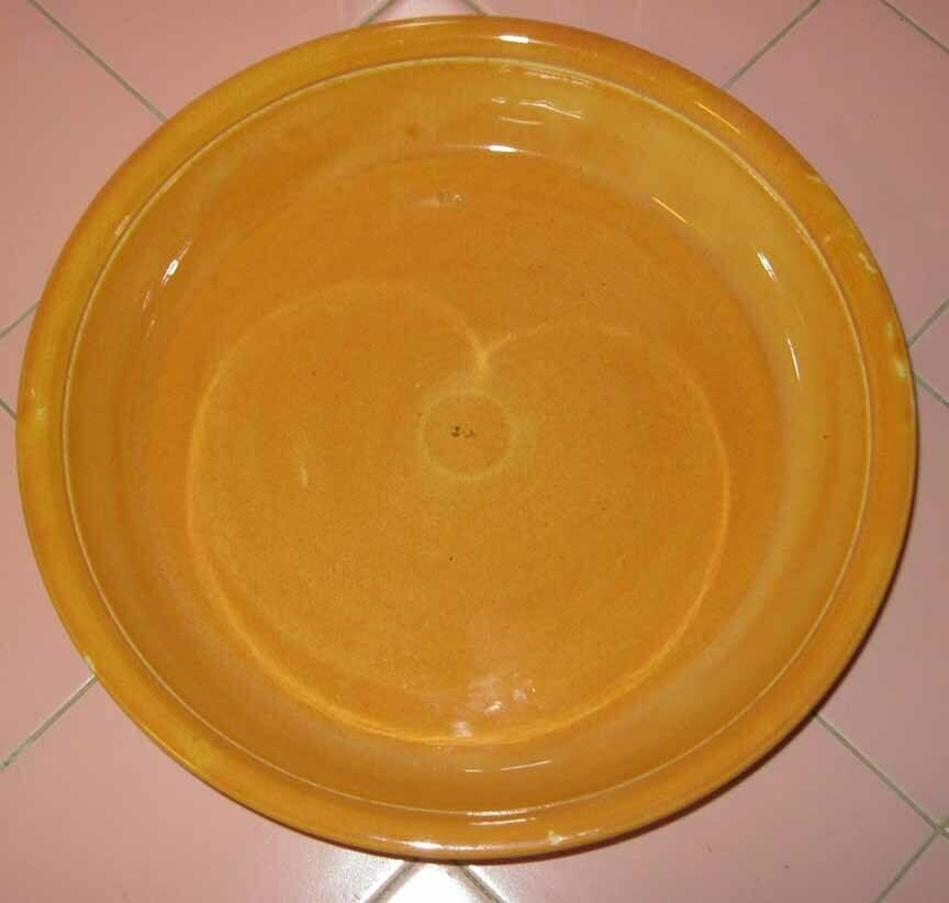 Vintage Homer Laughlin Oven Serve 11 Pie Plate Orange Golden Rod Floral Decor - $29.95