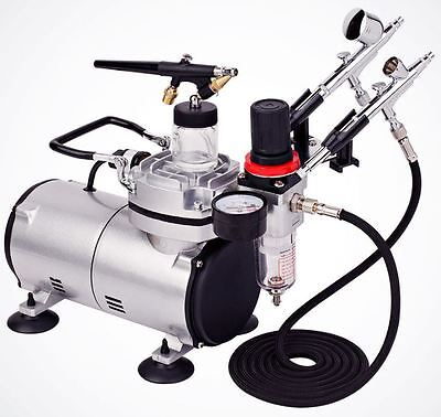 Master Pro Airbrush Multi-purpose system Dual-action 3 Airbrush Kit w/ 6ft Hose