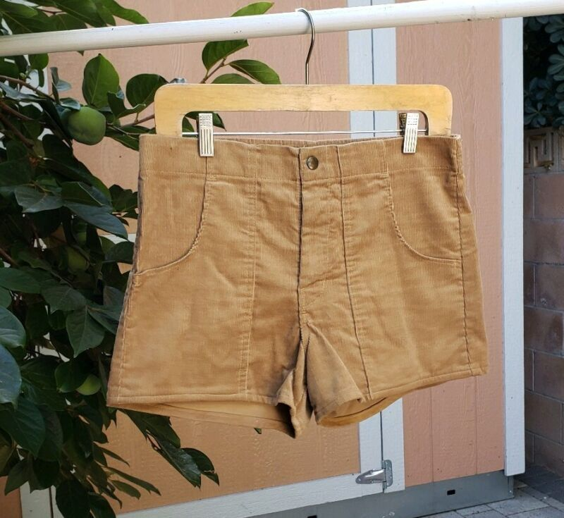 VINTAGE 70S PETER P CORD SURF BOARD SHORTS MEN SIZE 30