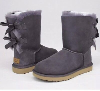 Used, UGG BAILEY BOW II NIGHTFALL COLOR SUEDE SHEEPSKIN BOOTS SIZE 5 US - NEW IN BOX for sale  Ventura