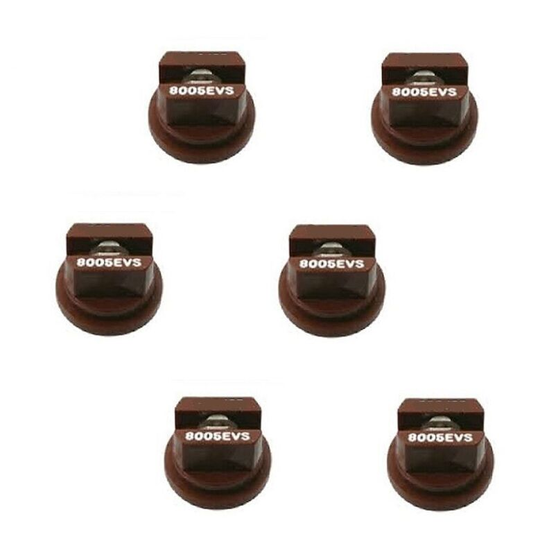 Pack of 6 - TeeJet Even Flat Spray Tip Brown 80° Polymer w/ SS Insert Visiflo