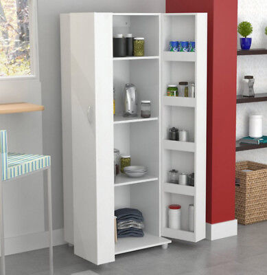 Pantry Cabinet Food Kitchen Organizer Cupboard With Doors Storage White