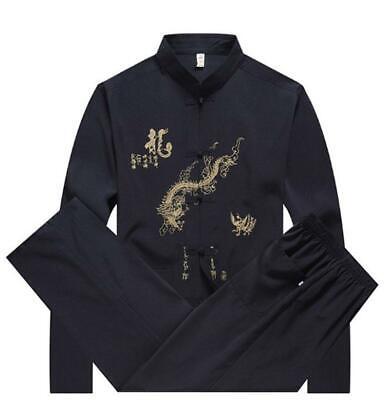 2* Long Sleeve Traditional Chinese Tang fu Top Men Kung Fu Tai Chi Clothes -