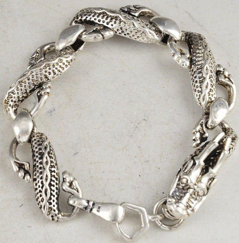 Asian China Dragon Head Tibet Silver Chinese Old Handwork Bracelet