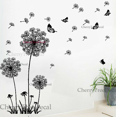 living room decoration - Flying Dandelion Flower Butterfly Wall Decal Stickers Home Art Decor Living Room