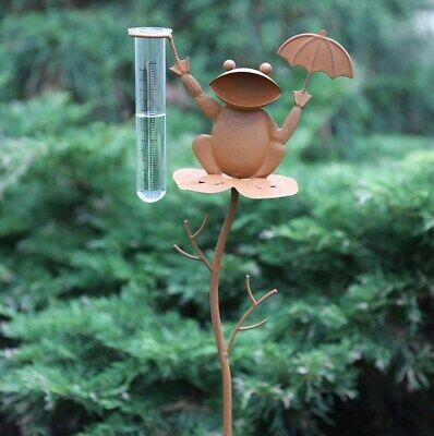 Metall Garten-Deko Gartenstecker Regenmesser Frosch Beetstecker Rost Optik