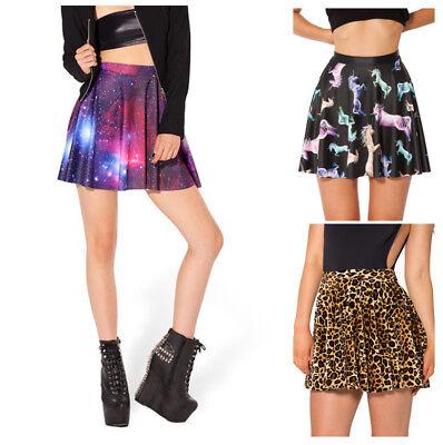 Womens Sexy Club Unicorn Skull Skater Dance Mini Short Pleated Skirt Halloween