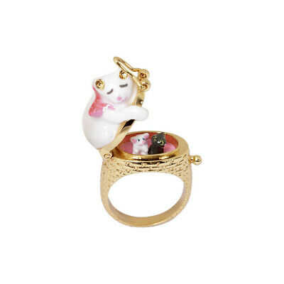 Juicy Grape Sweet Sleep Cat Enamel Ring Open Close Delicate Design Ring