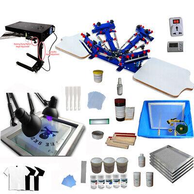 4 Color 2 Station Screen Printing Kit T-shirt Printing Machine Press Flash Dryer