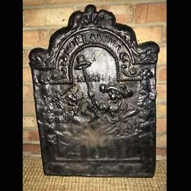 Antique Cast Iron Fire Back, Circa 1650