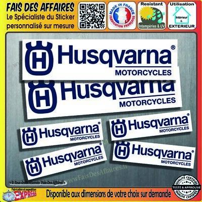 lot 6 stickers autocollant Husqvarna motorcycles decal sponsor logo