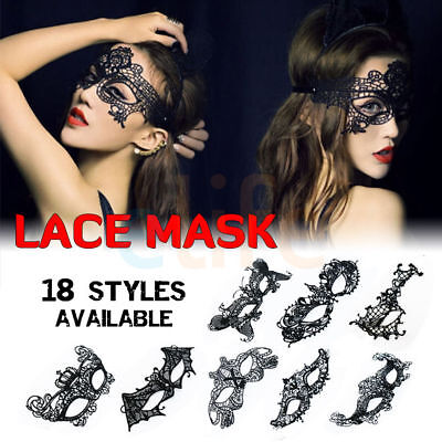 Sexy Women Black Lace Eye Face Mask Masquerade Party Halloween Ball Prom Costume - Black Face Mask Costume