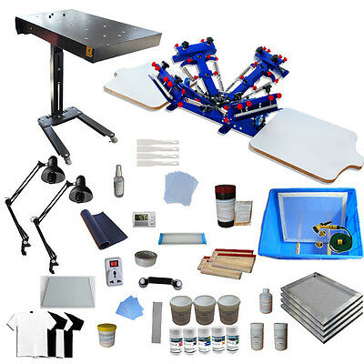 4 Color 2 Station Screen Printing Kit T-shirt Printing Machine Printer Materials