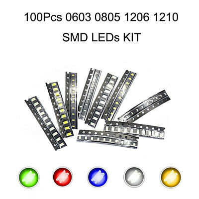 100pcs 0603080512061210 Smd Led Diodes Kit Red Green Blue Yellow White