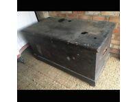 Large Vintage Wooden Camphor Chest/ Blanket Box/ Ottoman